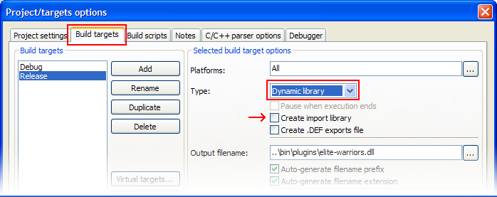 Screenshot of the dialog box for setting project type to Dynamic Library