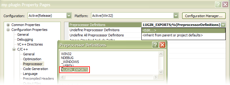 Screenshot of the dialog box for setting the PLUGIN_EXPORTS preprocessor directive